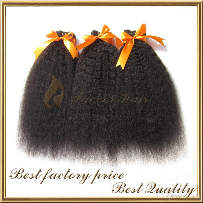 Gratis frakt Indisk Remy Hair Kinky Straight Hair Weave med Lace Top Stäng Naturlig färg Grov Yaki 4 st