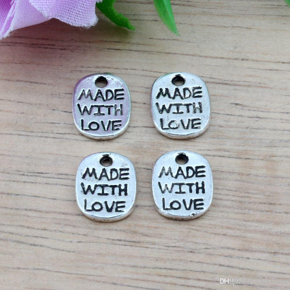 """Hot ! Antiqued Silver Alloy """"Made With love"""" Charms Pendants 8X11 MM DIY Jewelry"""