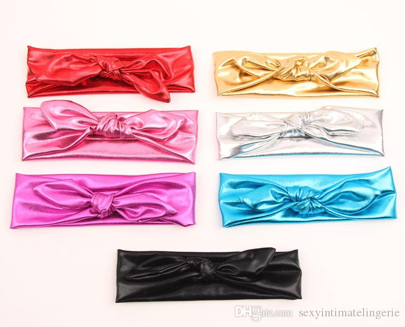 Shiny leather bow headband BabyToddler Headband Kids Hair Accessories elastic metal color head wraps turban bands bPhotography Props
