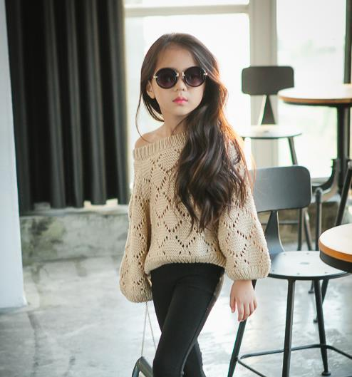 Girl Pullovers Knitwear Sweaters Child Clothes Kids Clothing Autumn