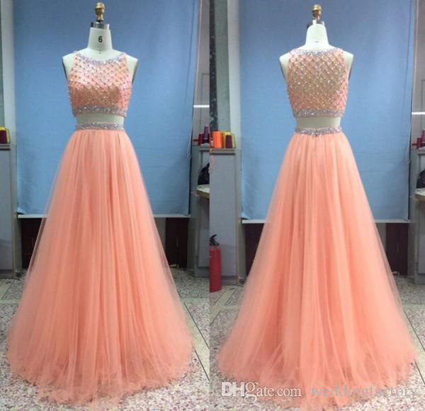 Atemberaubende zwei Stücke Prom Dress A Line Rundhalsausschnitt ärmellose Mode Pfirsich Tüll Abendgesellschaft Kleider A Line Formal Pageant Wear