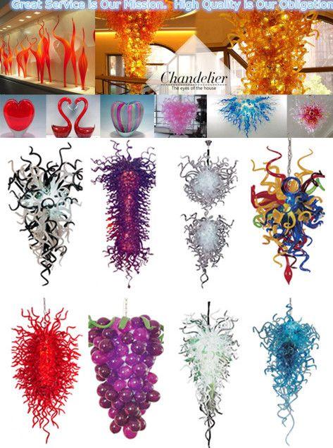 100% boca soplada CE UL Borosilicato Murano Glass Dale Chihuly Art Lámpara de luz multicolor de excelente calidad
