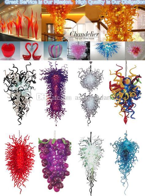 Blauton Kronleuchter 100% Mundgeblasen Murano-Glas Kronleuchter Beleuchtung hängende Glaslampen Art Lobby Light Villa Kronleuchter