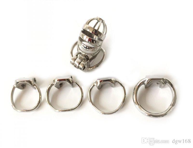 El más nuevo diseño de acero inoxidable para hombre dispositivo de castidad hueco jaula de gallo con anillo de martillo juguetes sexuales para hombres Bondage cinturón de castidad