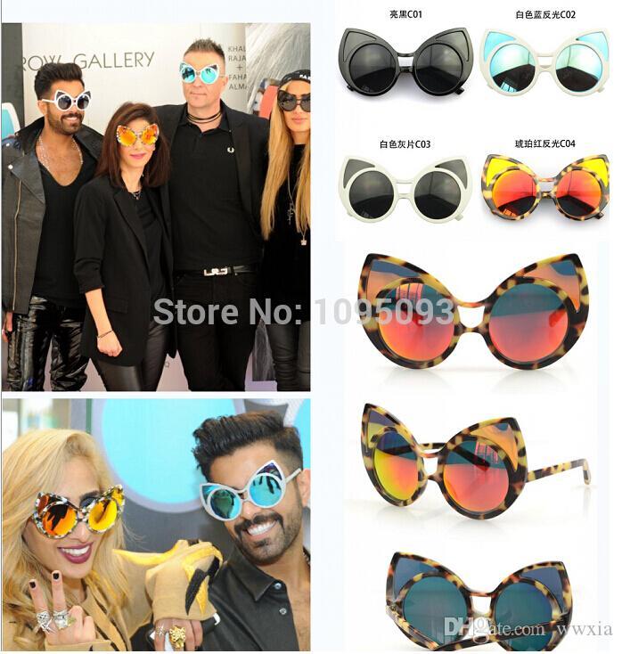 Großhandel 2015 Neue Katzenauge Ohr Sonnenbrille Gold Blau Spiegel ...
