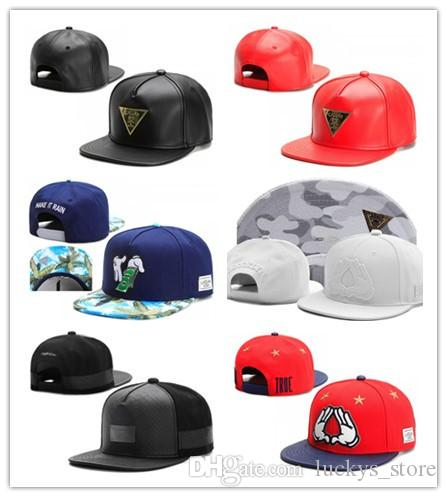 423d924b Leather cayler sons snapback hats black red baseball caps for men women hip  hop flat sun hat bones gorras cheap Casquette leather caps