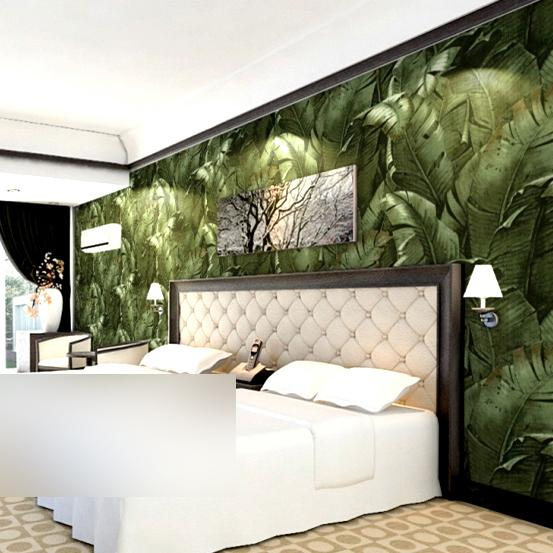 acheter 3d nature banane papier peint feuille vinyle vert. Black Bedroom Furniture Sets. Home Design Ideas