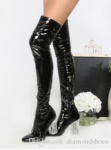 Fashion Women Thigh High Boots 9cm Perspex High Heels Over the Knee Celebrity Shoes Clear Heels Red Blue Black Size 35-42