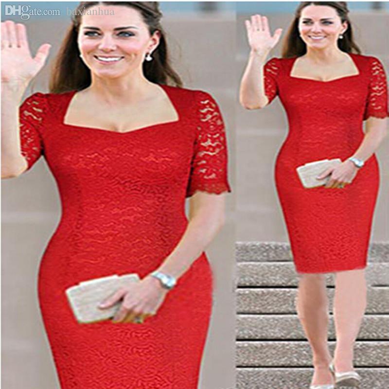 3b8c0d7c508a5 Wholesale 2016 New Women Summer Casual Dress Princess Kate Vestidos Vintage  Lace Dress Red Bodycon Party Dresses Plus Size M 7XL White Dresses Party  Long ...