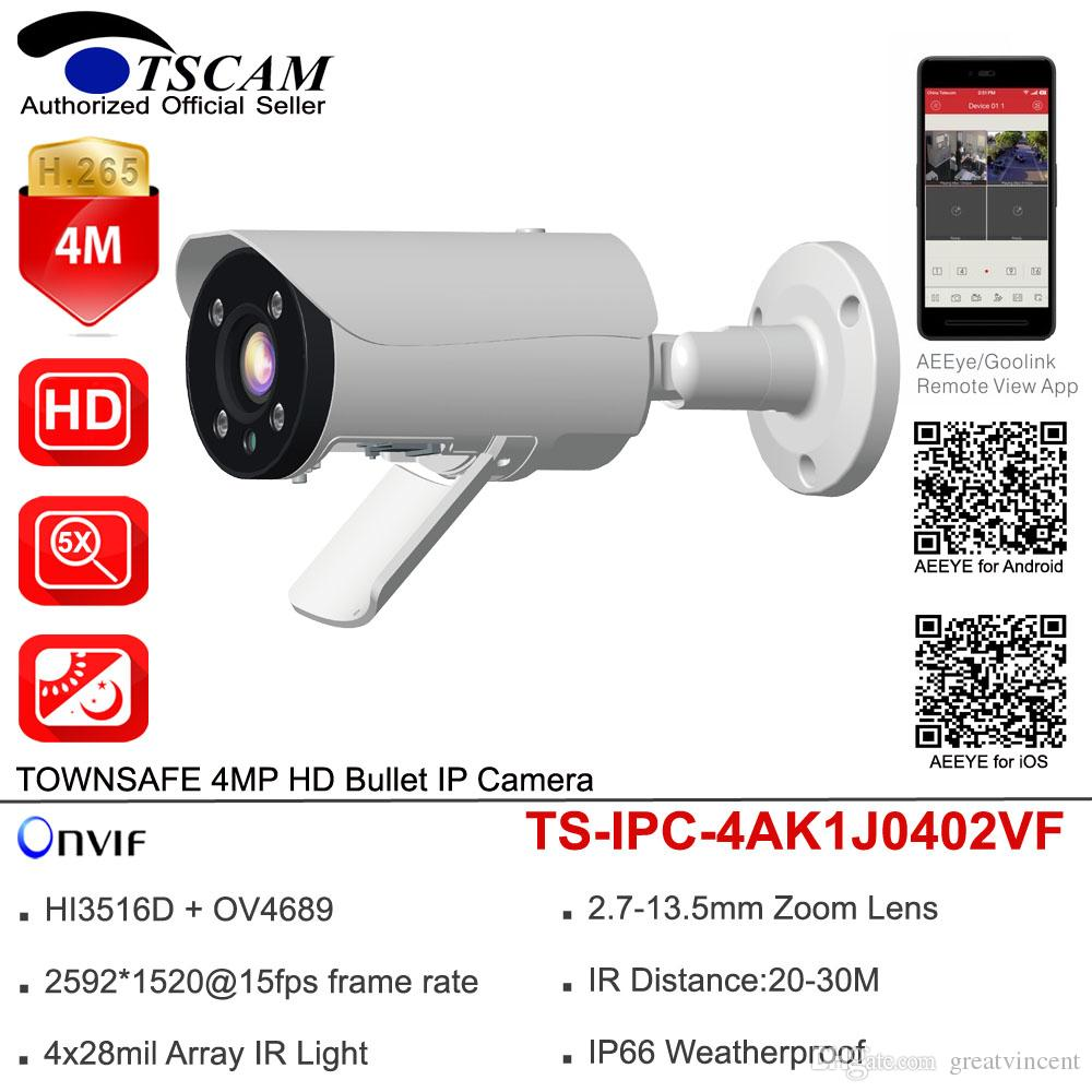 TSCAM HD 4MP Bullet IP Camera ONVIF H.265 2.7-13.5mm 5X Zoom Lens WDR Outdoor IR Security Surveillance Camera IP66 P2P