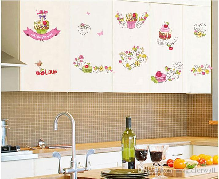 Cartoon Cake Glass Window Wall Decal Sticker PVC Removable Living Room Kitchen Tile Cabinet Art Decor Wallpaper Poster Decoration Graphic