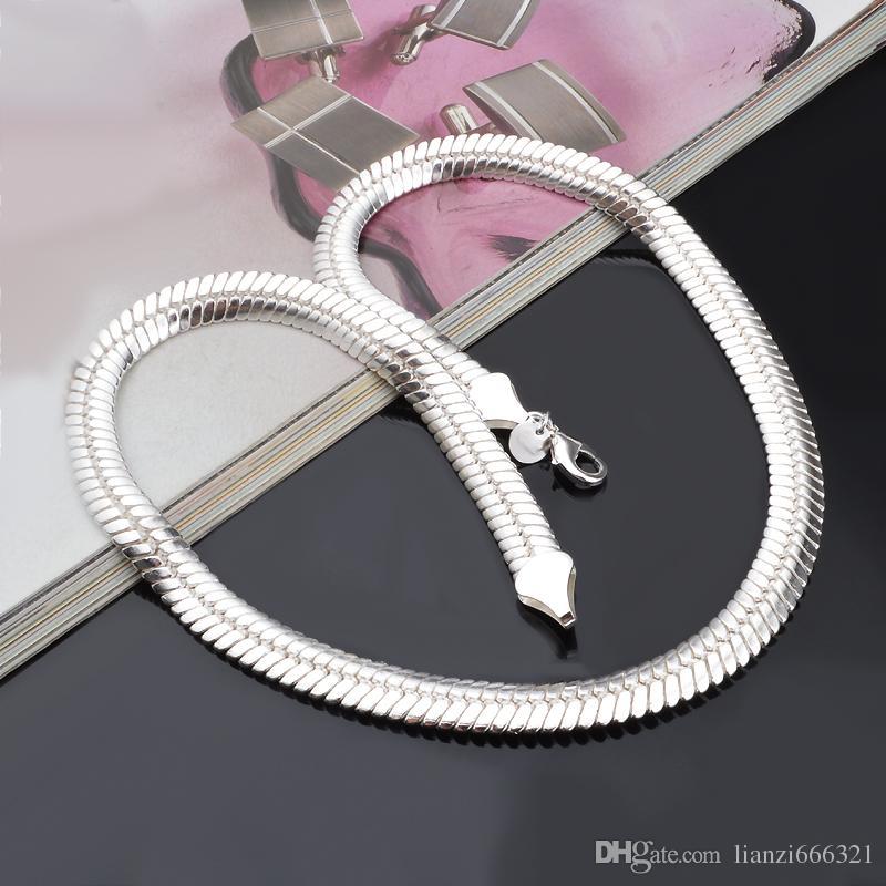 Promosyon Satış 925 gümüş zincir kolye Noel moda 925 gümüş 6MM Yılan Zincir kolye takı Kargo BEDAVA sıcak satış 1345
