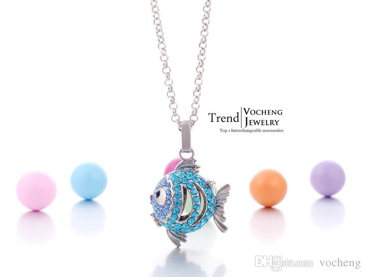 مجوهرات VOCHENG بولا الكرة السمك جميل قلادة قلادة الأمومة الطفل الرنين مع سلسلة الفولاذ المقاوم للصدأ VA-087