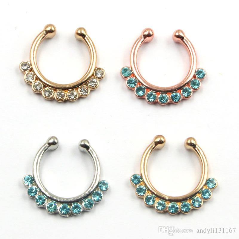 10pcs Goth punk Medical septum Piercing blue crystal nose gold ring indian silver non piercing fake nose ring hoop clip N0023