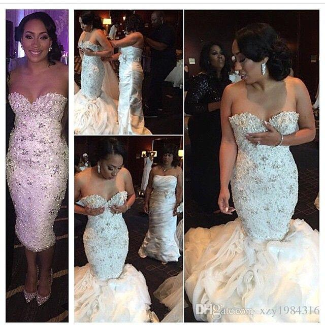 Stunning Crystals Wedding Dresses Beaded Flouncing Ruched Organza Detachable Train Wedding Gowns Mermaid Plus Size White Arabic Bridal Gowns