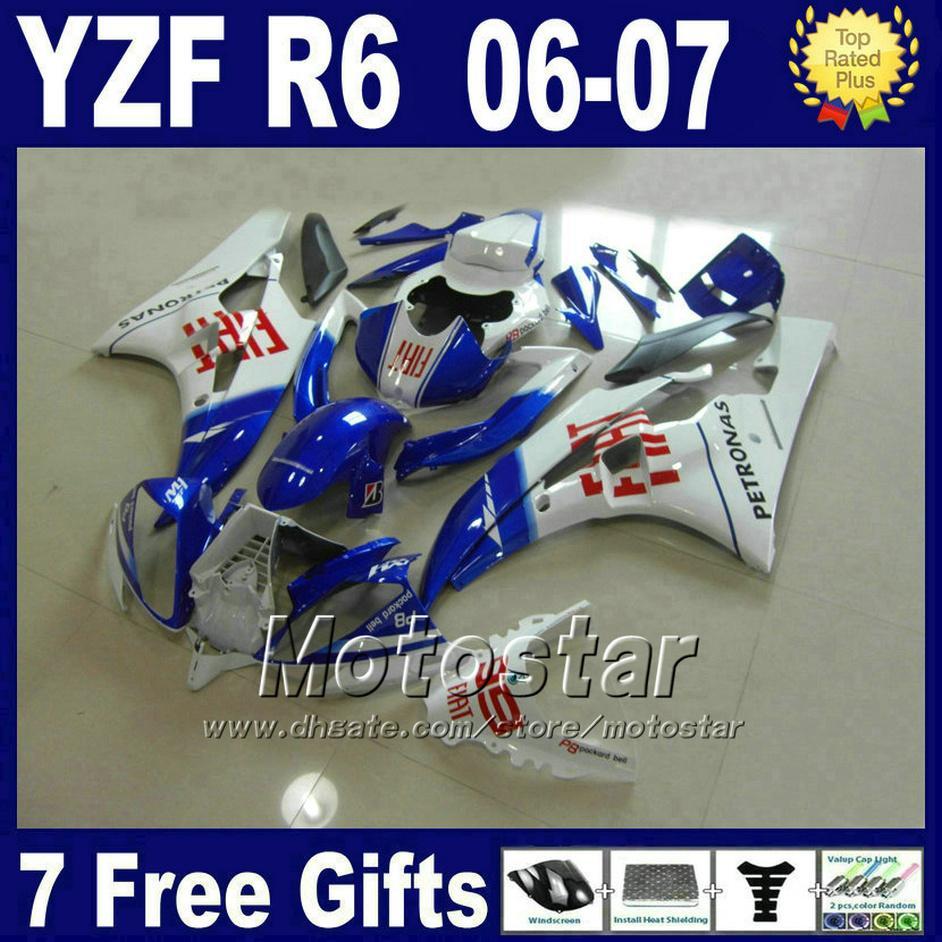 100٪ ABS البلاستيك ل Yamaha R6 Fairings Kits 2007 2007 أبيض أزرق YZF R6 06 07 Bodykit HCSD