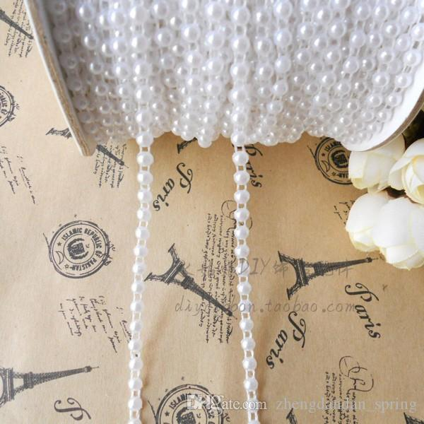 4mm50m/roll White Ivory Half Pearl String Beaded Trim Strass Wedding pearl decoration string/ Crafting DIY accessory
