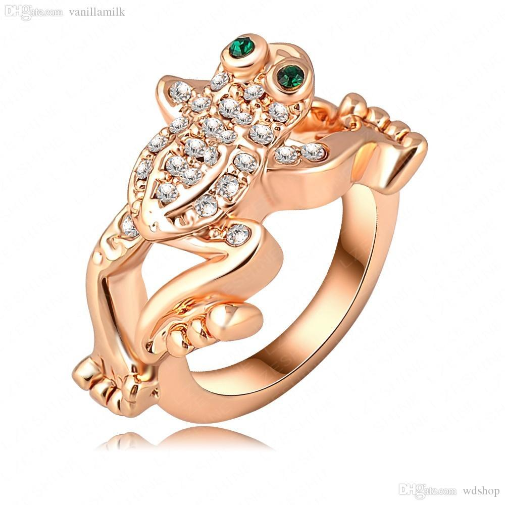 for sets designer crystal jewelry jumping product men exaggerated women real frog party ring gold loose rings jewellery fashion rose wholesale plated austrian wedding