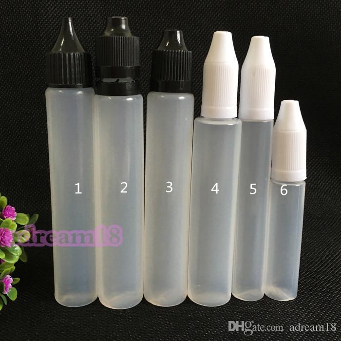 Vendidos frasco de 10ml Garrafa Vazia longa PE Childproof Top Cap Dropper Pen Estilo Unicron E-Líquido Dripper frasco de 10 ml garrafas venda