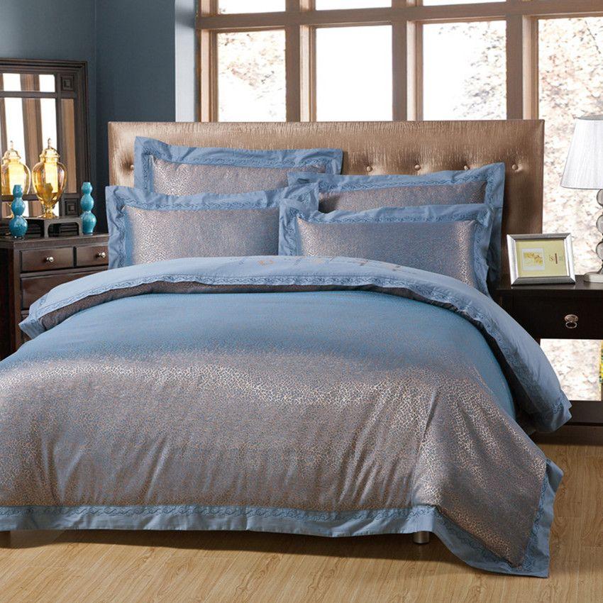 Elegant Textured Jacquard Bedding Set Tencel Cotton Silk