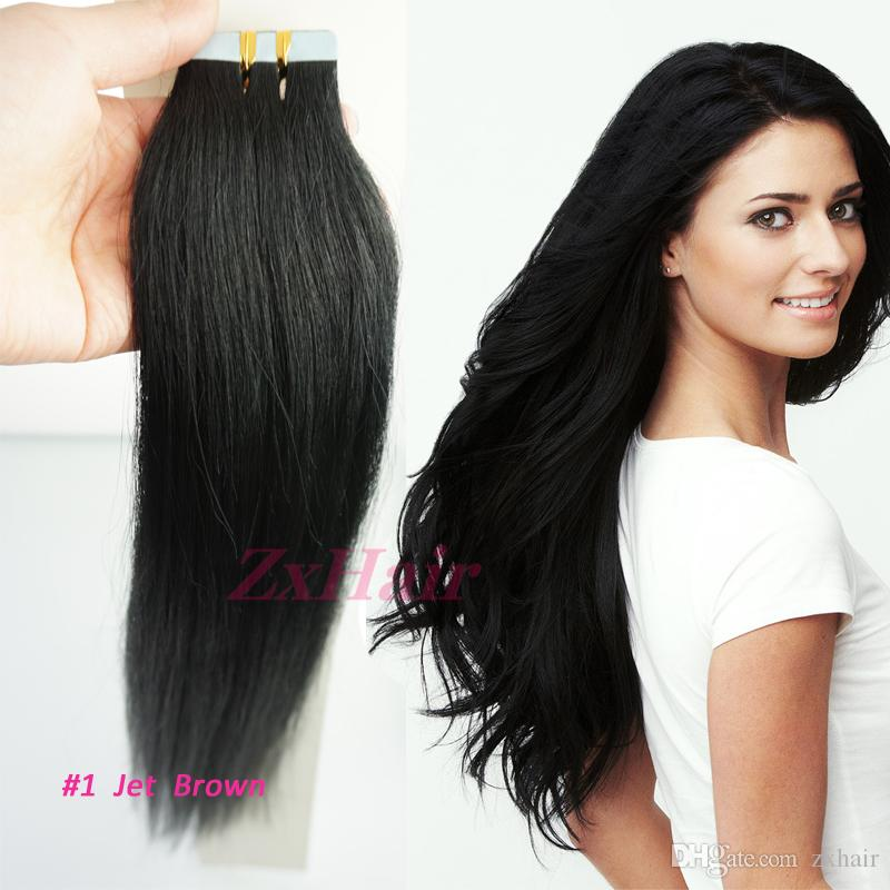 16 18 20 22 24 Tape Skin Remy Human Hair Extensions 01 Jet Black