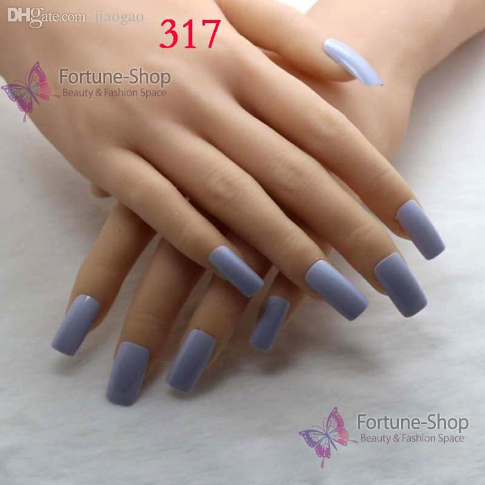 Wholesale /Pack Beauty Fake Nails Color Light Blue Acrylic Nail Tips ...