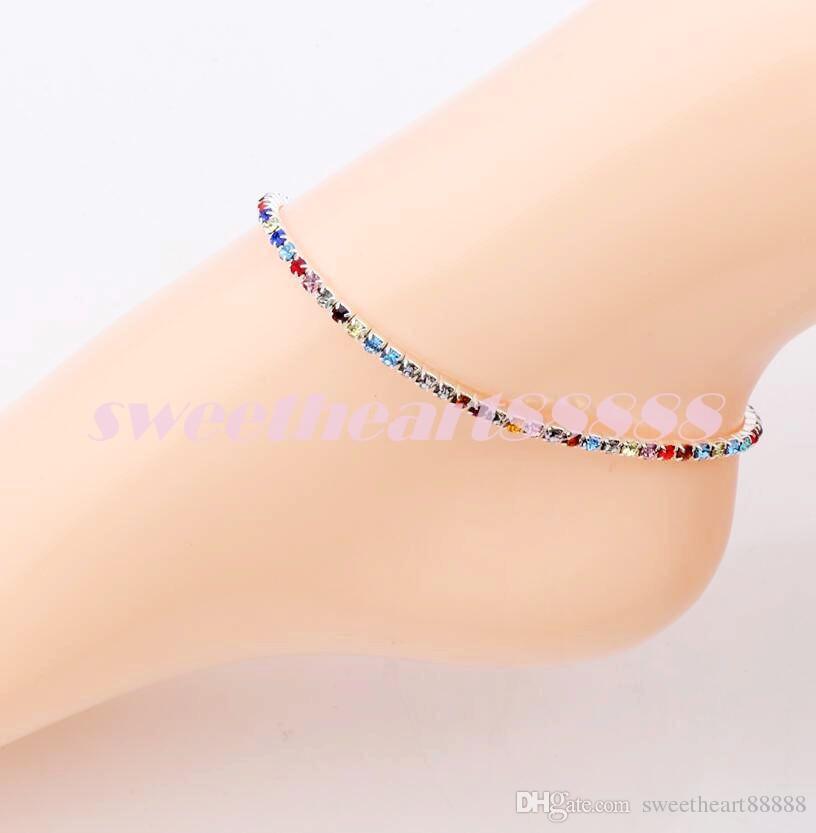 / argent plaqué frais plein clair clair strass tchèque cristal cercle printemps bracelets de cheville bijoux de corps