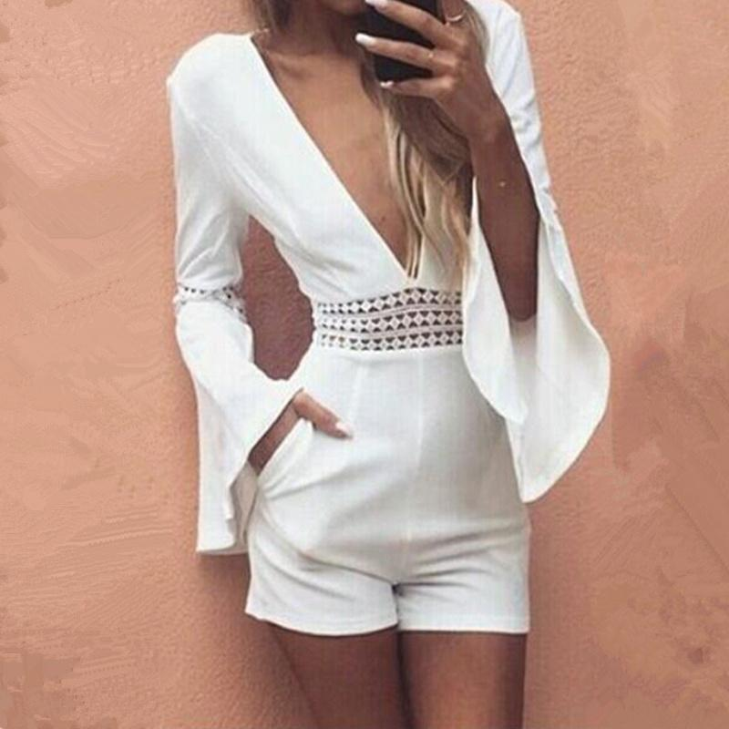 c3a405203f0 2019 X201711 Women Summer White Short Sexy Rompers Jumpsuit Deep V Neck  Long Flare Sleeve Beach Party Playsuits Waist Crochet Lace Overalls From  Huang03