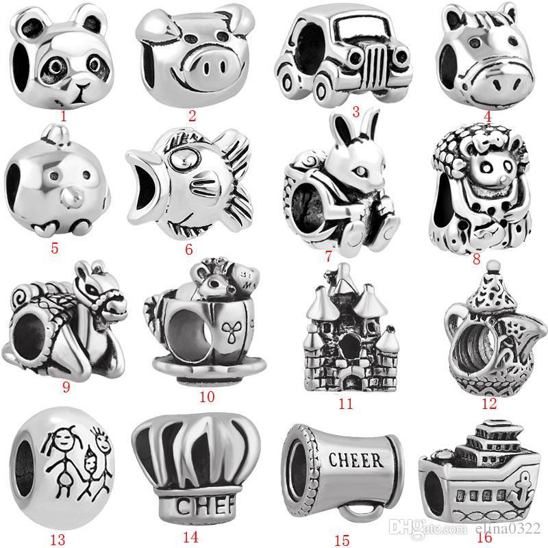 Frete grátis MOQ prata panda pássaro rato mãe família carro porco grande buraco talão charme fit estilo europeu pulseira colar