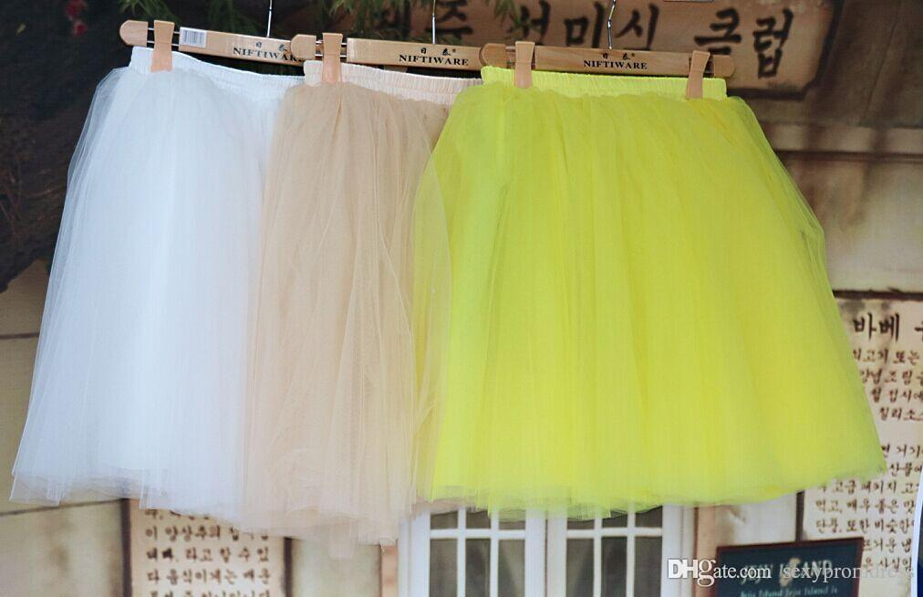 2015 White Tulle Tutu Skirts For Adults Real photos Knee Length Custom Made A-Line Cheap Party Prom Dresses Women Clothing Tulle Skirts