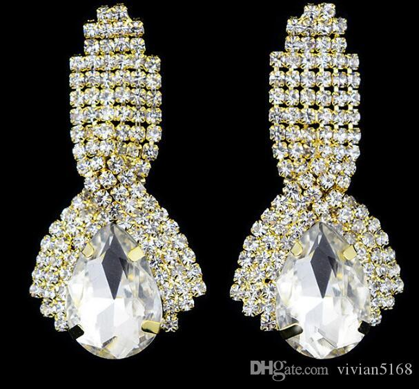 Arbeiten Sie Goldhochzeits-Ohrringe lange Kristallwasser-Tropfen-große Ohrringe für Frauen Bräute-Weinleseleuchterohrringe Saphirohrringe freies DHL um