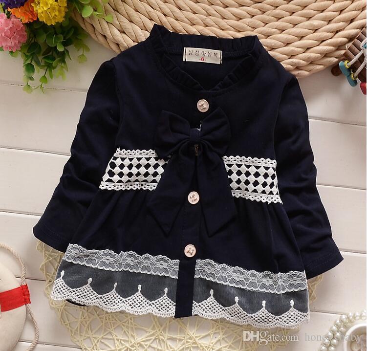 2016 Spring Autumn Baby Girls Bow Lace Cardigan Coat Infant ...