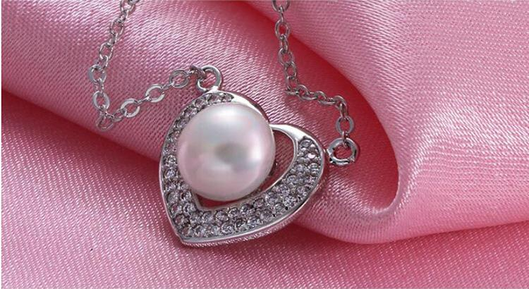 Moda Classic Heart Necklace Earrings Set 18kgp aleación de la joyería de la perla para las mujeres mejor joyería de moda nupcial 1444