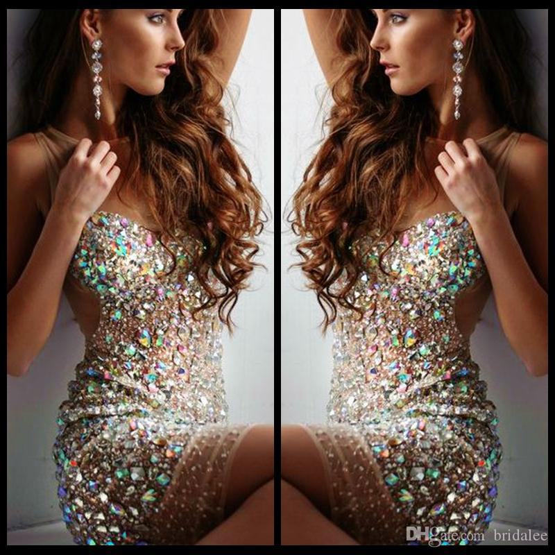 Sexy Short Bling Prom Dresses Mini Sheer Scoop Neck Nude Tulle Sheath  Beaded Crystal 2016 Cocktail Party Dresses For Evening Formal Gowns Prom  Dress 2015 ... c15060f6895b