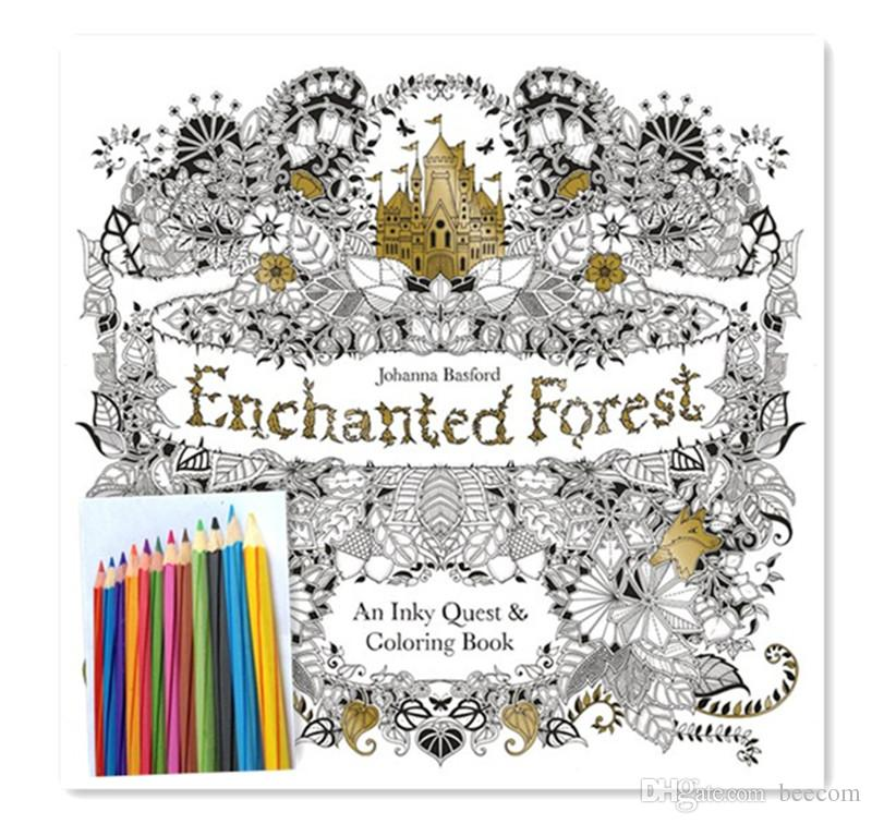 Enchanted Forest An Inky Quest Coloring Book By Johanna Basford With Pencils Color Books For Preschoolers Colouring Printable From Beecom