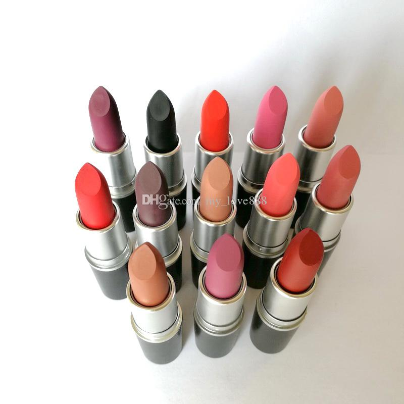 In Stock! AAA Quality Hot Matte Lipstick RUSSIAN RED HONEY LOVE PLEASE ME PERSISTENCE ANGEL REBEL BUBBLEGUM 3G Long-lasting Lipstick color