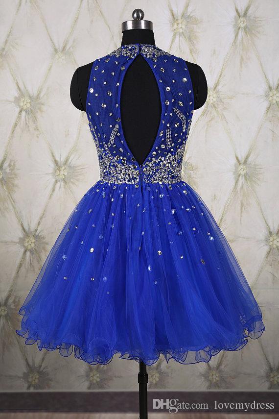Royal Blue Formal Abendkleid Plissee Mini Abendkleider Kurze Abendkleider Mit Perlen Pailletten Crew Kragen Knielanges Kleid