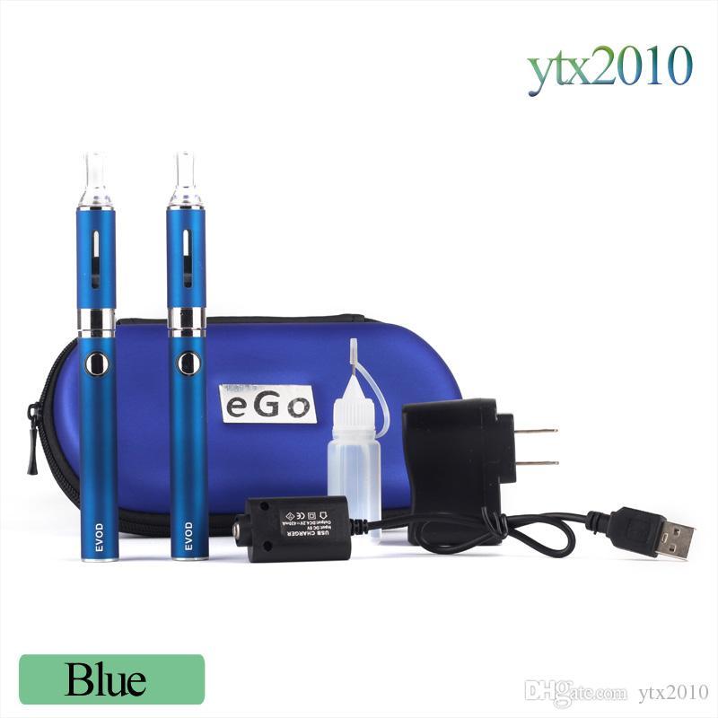 EタバコMT3 EVOD二重スターターキット2.4ml蒸発器650mAh 900mAh 1100mAh Evodバッテリーの取り外し可能コイルEcigs DHLフリー