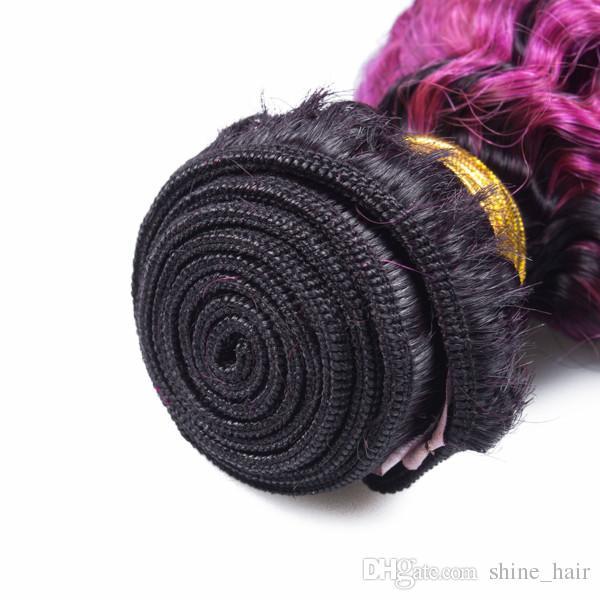 Dark Root 1B/Purple Ombre Peruvian Human Hair Bundles Kinky Curly 2Tone Colored Purple Ombre Virgin Human Hair Weaves Extensions