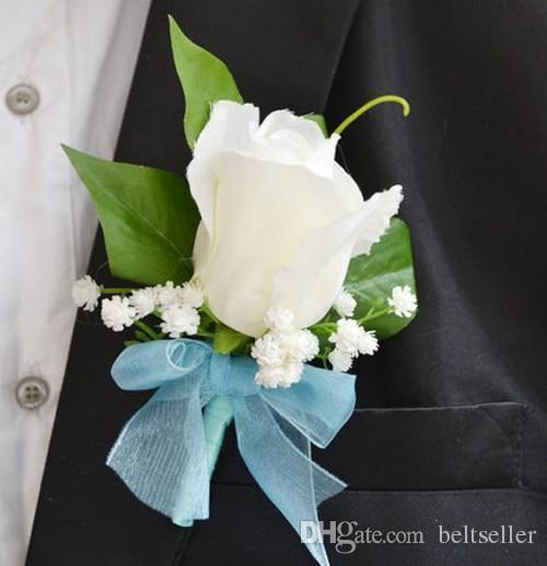 Boda romántica Decoraitve Boutonnieres elegante Artificial Rose Ramilletes Boutonniere del novio hecho a mano para el banquete de boda suministros