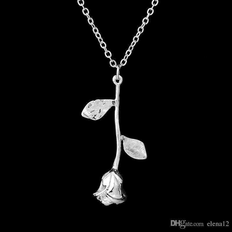 2018 Rose Collar de color dorado Collar personalizado con encanto personalizado Final Rose Flower movie Jewelry Mujeres 162496