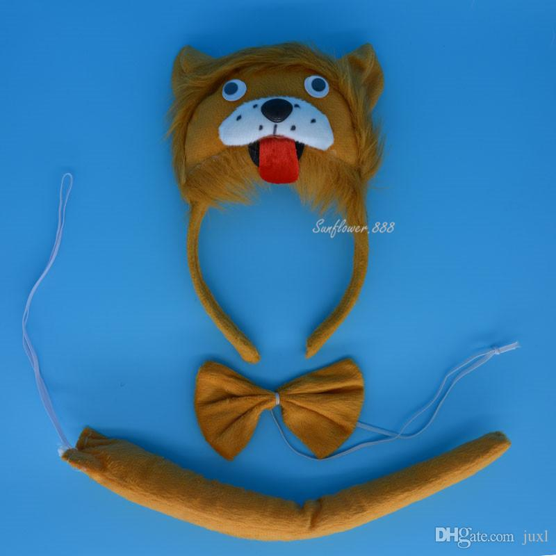 Girls Boy Kids 3D Animal Ear Monkey Giraffe Tiger Headband Tie Tail Halloween Birthday Party Cosplay Carnival Children'Day Christmas Wedding