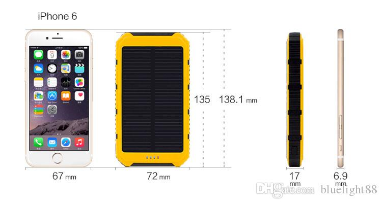 12000mAh Power Bank Ultra-thin Waterproof Solar Power Banks 2A Output Cell Phone Portable Charger Solar Powerbank