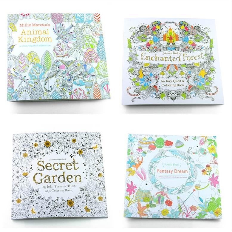 Adult Coloring Books 4 Designs Secret Garden Animal Kingdom Fantasy Dream And Enchanted Forest 24 Pages Kids Painting Colouring Book