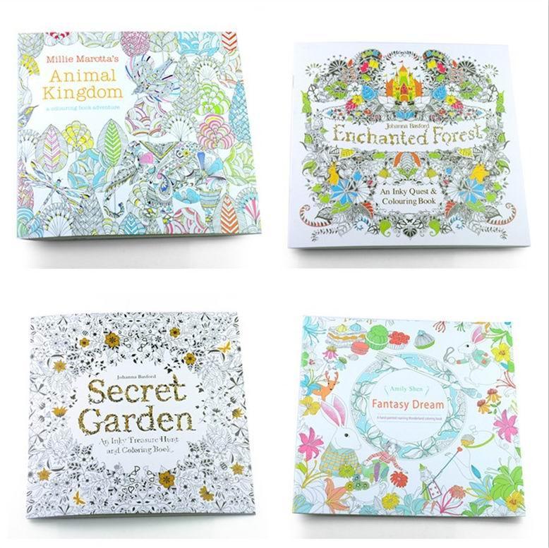 Adult Coloring Books 4 Designs Secret Garden Animal Kingdom