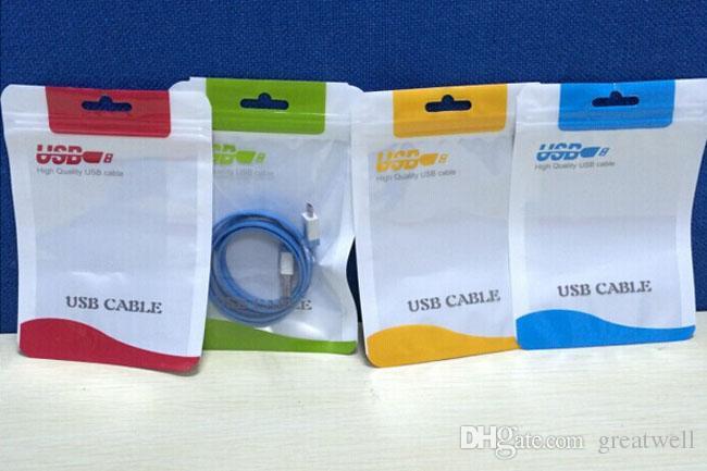 Cajas de colores al por menor del bolso del paquete para el cargador micro USB del cable de la sincronización de datos audio del auricular Samsung LG que embala