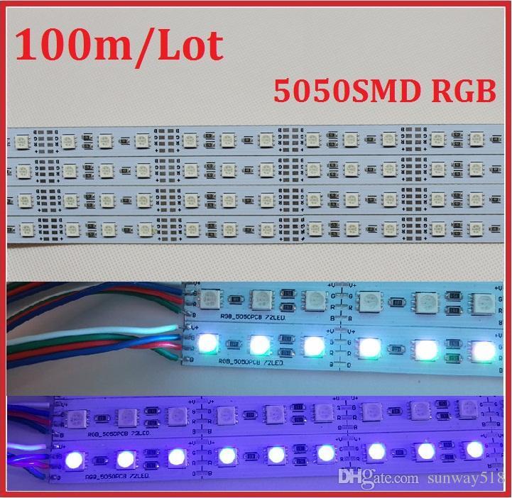Under Cabinet Led Lighting 1M 5050 RGB Led Strip Rigid Hard Strip DC12V Bar  Light 72 LED Sportlight Free Shipping Decoration Lamp