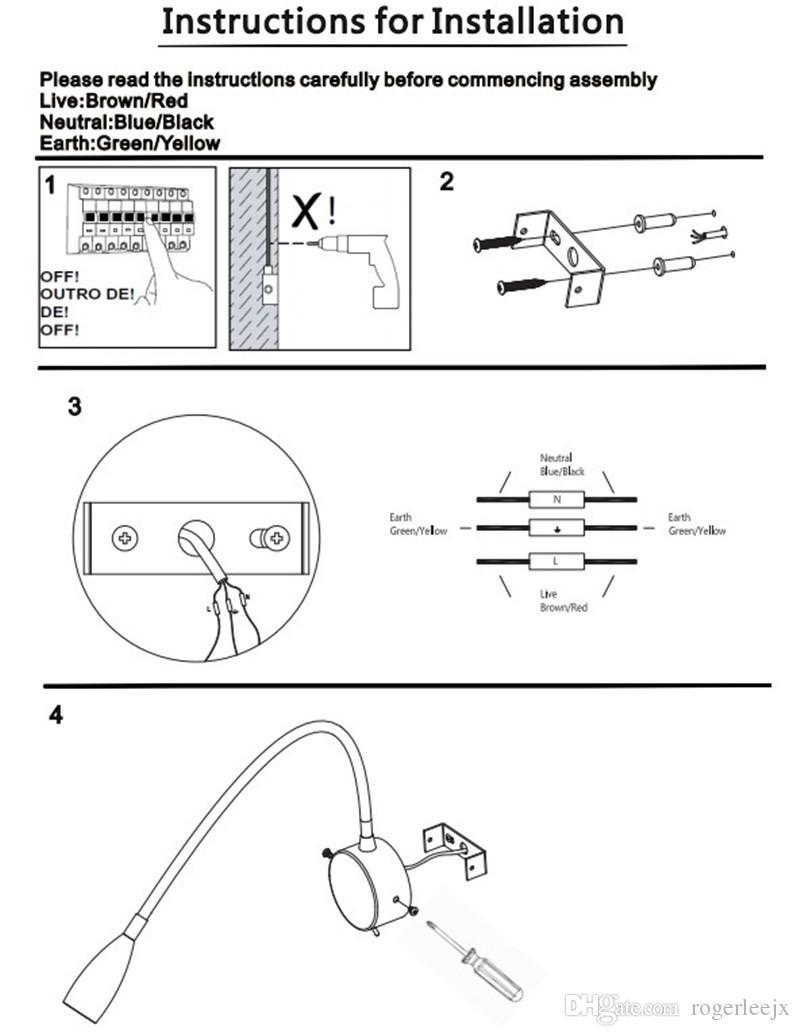Topoch Duvara Monte LED Lamba 3W Sabit kablolu Fırçalanmış Nikel Finish Esnek Gooseneck ON / OFF Anahtarı Dahili Güç Kaynağı Oda Tekne Araba için