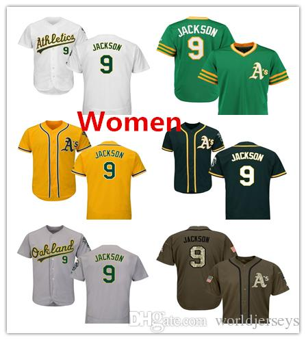 buy popular a548f 9b510 Women Athletics 9 Reggie Jackson Baseball Jersey Green White Grey Gray  Green Salute Players Weekend All Star Team Logo Memorial Day