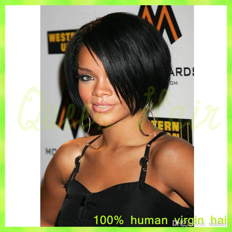 Short Cut 8 Inches Human Hair Bob Wigs Lace Front Wig With